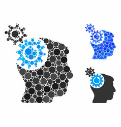 Head cogs rotation mosaic icon round dots vector