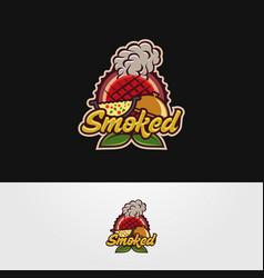 hot smoked food logo template vector image