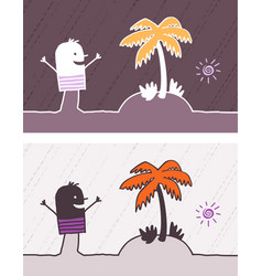 island colored cartoon vector image