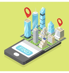 isometric of mobile navigation vector image
