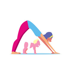 Kids yoga concept with mother and child vector