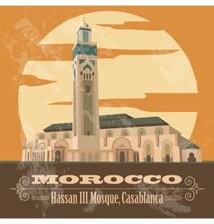 Kingdom of Morocco landmarks Hassan III Mosque in vector