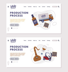 Landing page with whiskey production process with vector