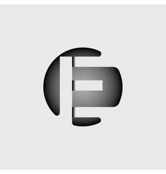 Letter e made wide white stripes vector