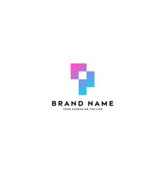 Letter logo p full color gradient vector