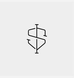 Letter s ss si shield logo design simple vector