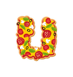 letter u pizza font italian meal alphabet vector image