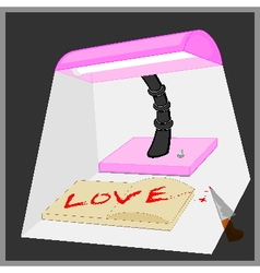 Light from the lamp shines on love word vector