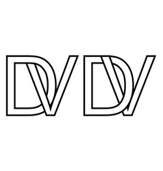 Logo vd and dv icon sign two interlaced letters v vector