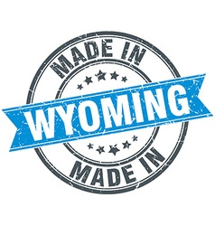 Made in Wyoming blue round vintage stamp vector