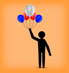 man holds balloons stickman figure celebration of vector image