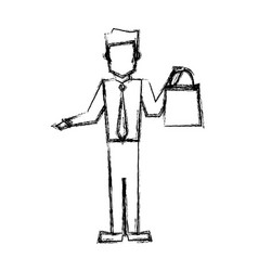 Man with shopping bag handle sketch vector