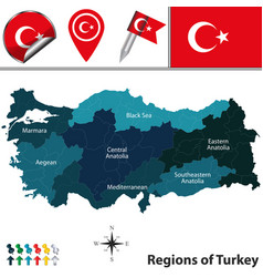 Map turkey with regions vector