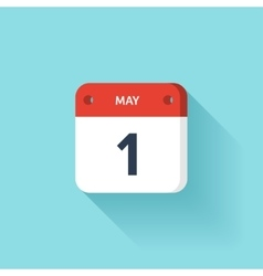 May 1 isometric calendar icon with shadow vector