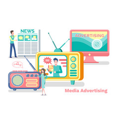media advertisement sources news coming set vector image