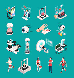 medical technology isometric icons vector image