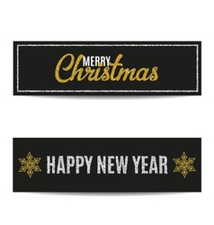 Merry Christmas banners set silver text and golden vector