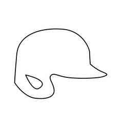 Monochrome contour of baseball helmet vector