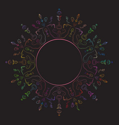 multicolored circular ornament on a black vector image