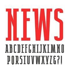 Narrow slab serif font vector
