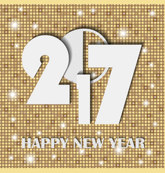 New year 2017 concept on soft golden shining vector