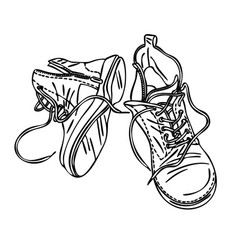 Old worn-out leather shoes outline vector