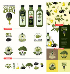 olive cartoon set black and green olives vector image