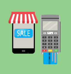 online purchase with smartphone and credit card vector image