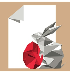 Origami rabbit with egg and paper note vector image