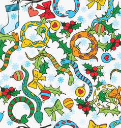 Pattern with snakes bows mistletoe snowflakes vector