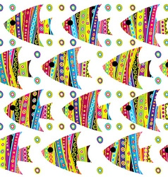 Patterned fishes seamless vector image