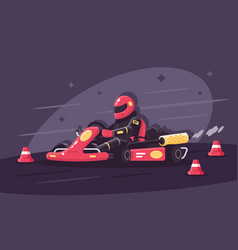 person in protective suit on race car rides on vector image