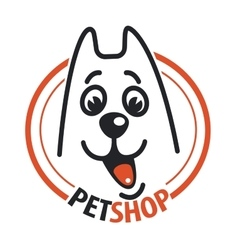 Pet shop with a dog head vector image
