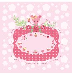 Pink birthday greeting card vector