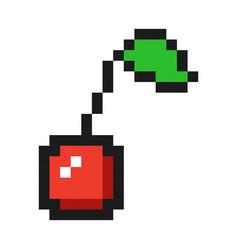 pixel art cherry icon game fruit vector image