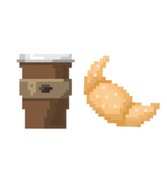 pixel art fast drink cup and croissant vector image