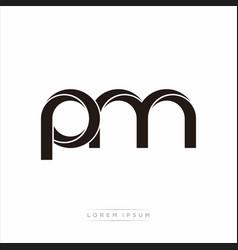 Pm initial letter split lowercase modern monogram vector