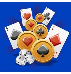 Poker Cards dice and Coins vector