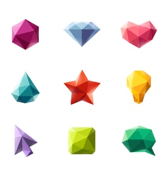 Polygonal geometric figures - set of elements vector image