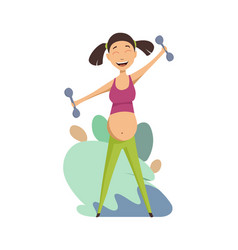 pregnant woman exercising with dumbbells portrait vector image
