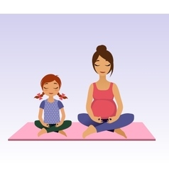 Pregnant women and little girl doing yoga vector image