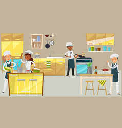 Professional chef group young people character vector