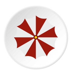 red and white beach umbrella icon circle vector image