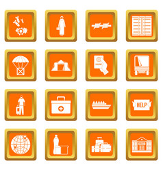 Refugees problem icons set orange vector