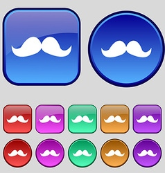 Retro moustache icon sign A set of twelve vintage vector