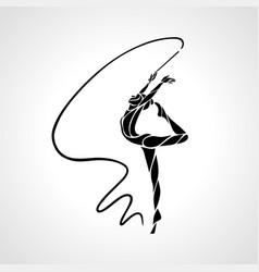 rhythmic gymnastics with ribbon abstract vector image