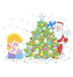 santa and a girl with a christmas gift vector image