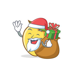 Santa mango character cartoon mascot with gift vector