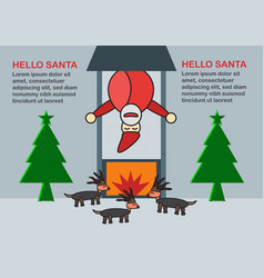 scene for merry christmas with santa claus vector image