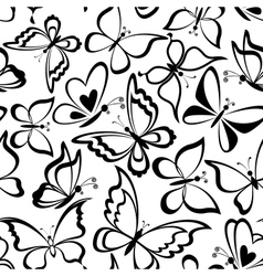 Seamless background butterflies silhouettes vector image